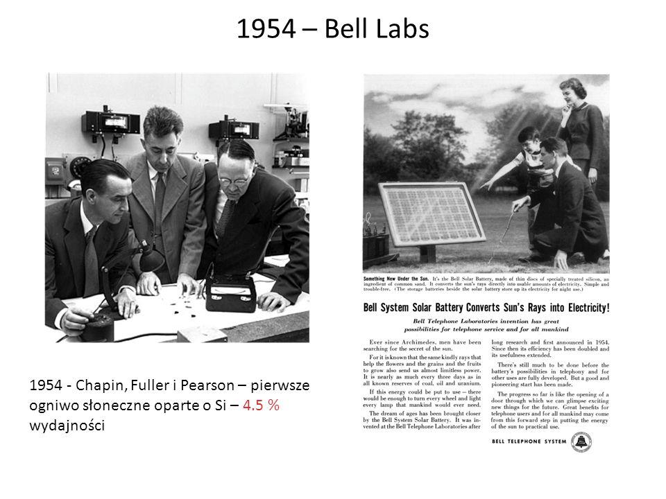 1954 – Bell Labs 1954 - Chapin, Fuller i Pearson – pierwsze ogniwo słoneczne oparte o Si – 4.5 % wydajności
