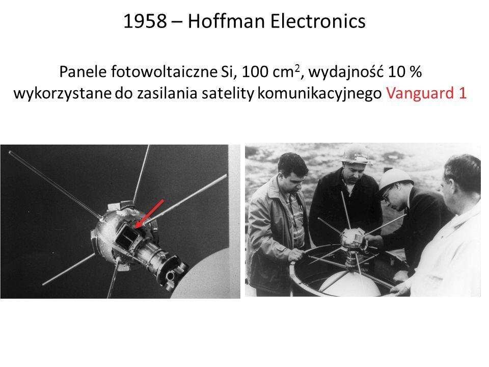 1958 – Hoffman Electronics Panele fotowoltaiczne Si, 100 cm 2, wydajność 10 % wykorzystane do zasilania satelity komunikacyjnego Vanguard 1
