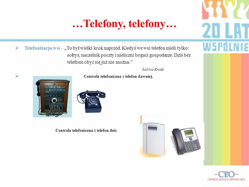 …Telefony, telefony… Telefonizacja wsi – To był wielki krok naprzód. Kiedyś we wsi telefon mieli tylko: sołtys, naczelnik poczty i nieliczni bogaci go