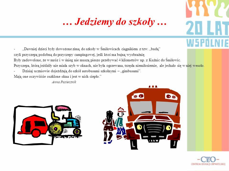 … Jedziemy do szkoły … -Dawniej dzieci były dowożone zimą do szkoły w Śmiłowicach ciągnikiem z tzw. budą czyli przyczepą podobną do przyczepy campingo