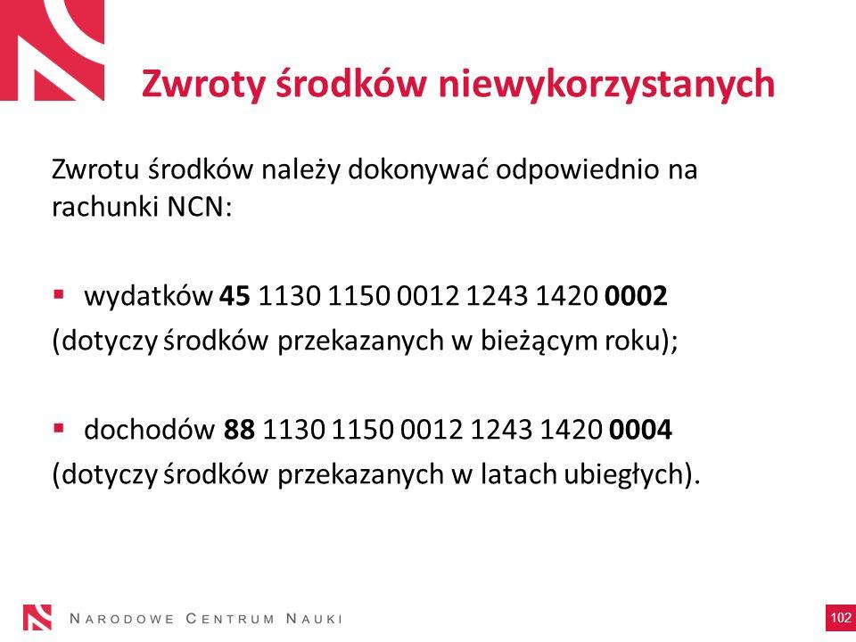 Zwroty środków niewykorzystanych Zwrotu środków należy dokonywać odpowiednio na rachunki NCN: wydatków 45 1130 1150 0012 1243 1420 0002 (dotyczy środk