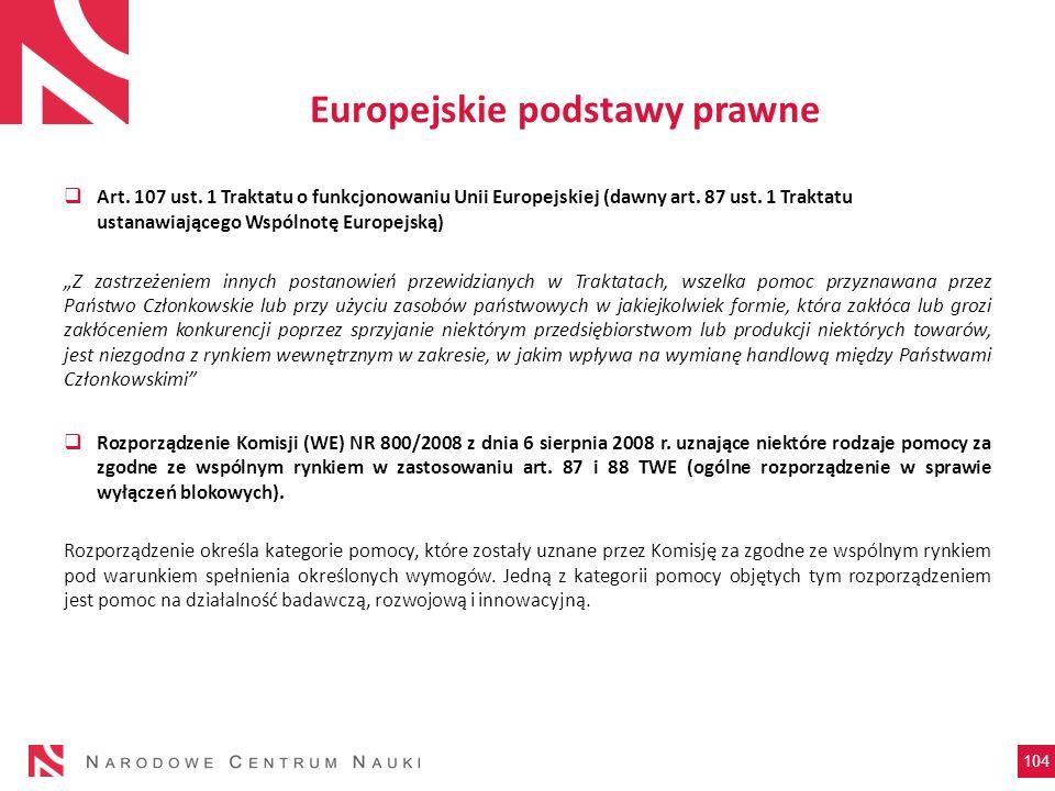 Europejskie podstawy prawne Art. 107 ust. 1 Traktatu o funkcjonowaniu Unii Europejskiej (dawny art. 87 ust. 1 Traktatu ustanawiającego Wspólnotę Europ