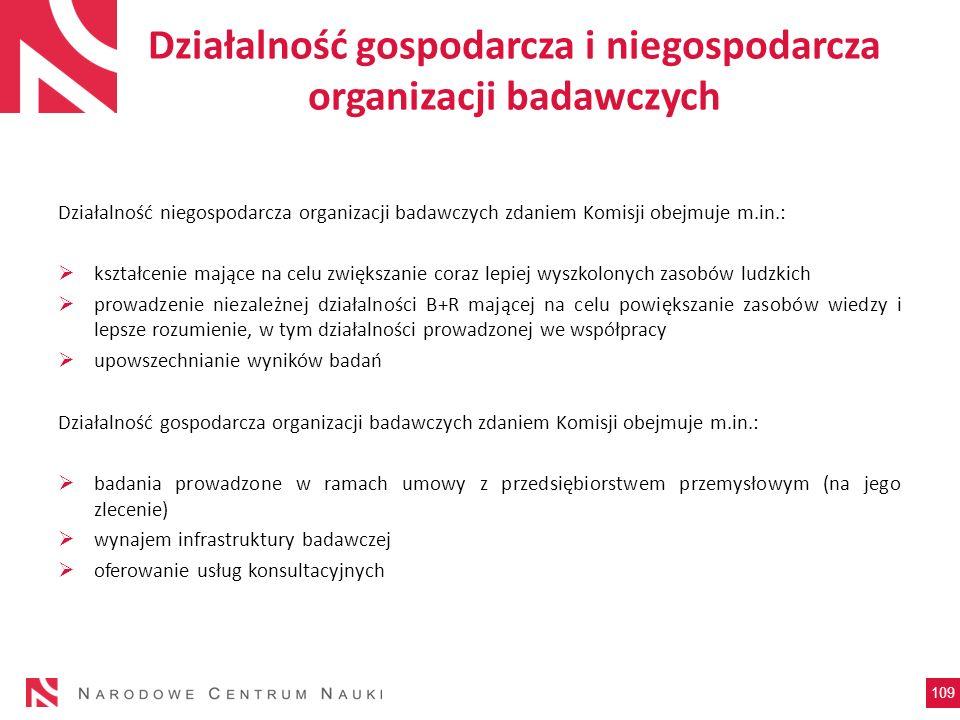 Działalność gospodarcza i niegospodarcza organizacji badawczych Działalność niegospodarcza organizacji badawczych zdaniem Komisji obejmuje m.in.: kszt