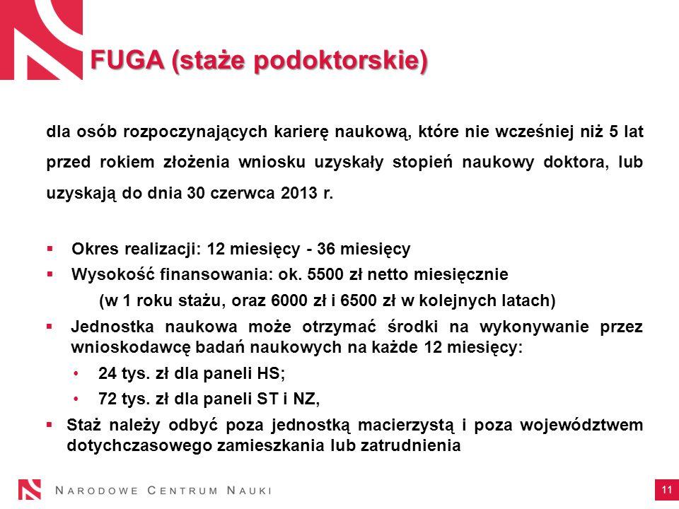 11 FUGA (staże podoktorskie) dla osób rozpoczynających karierę naukową, które nie wcześniej niż 5 lat przed rokiem złożenia wniosku uzyskały stopień n