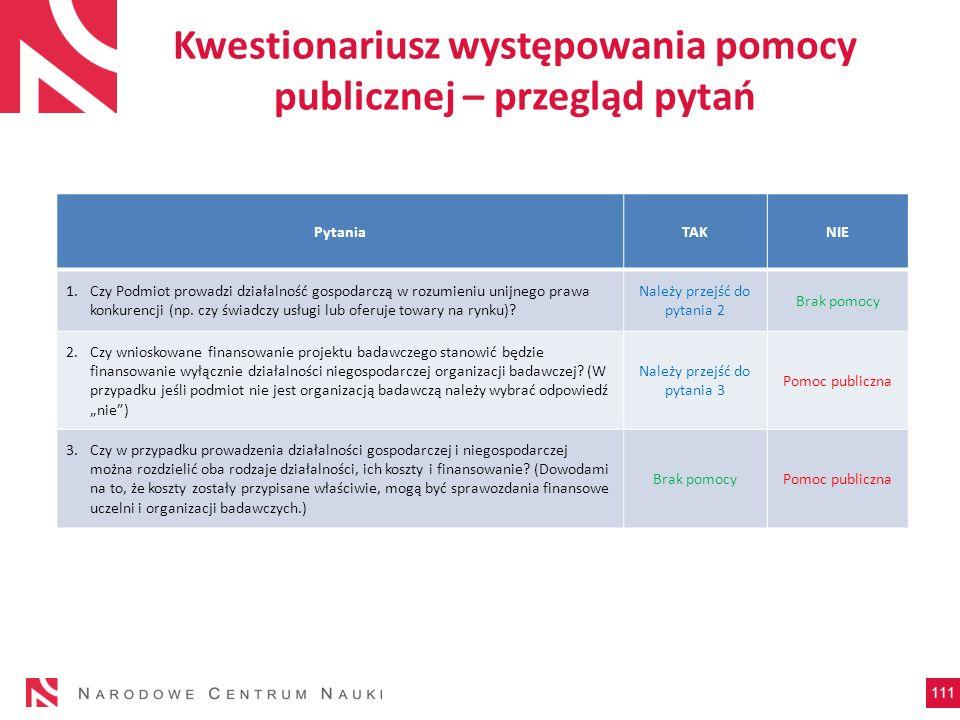 Kwestionariusz występowania pomocy publicznej – przegląd pytań 111 PytaniaTAKNIE 1.Czy Podmiot prowadzi działalność gospodarczą w rozumieniu unijnego