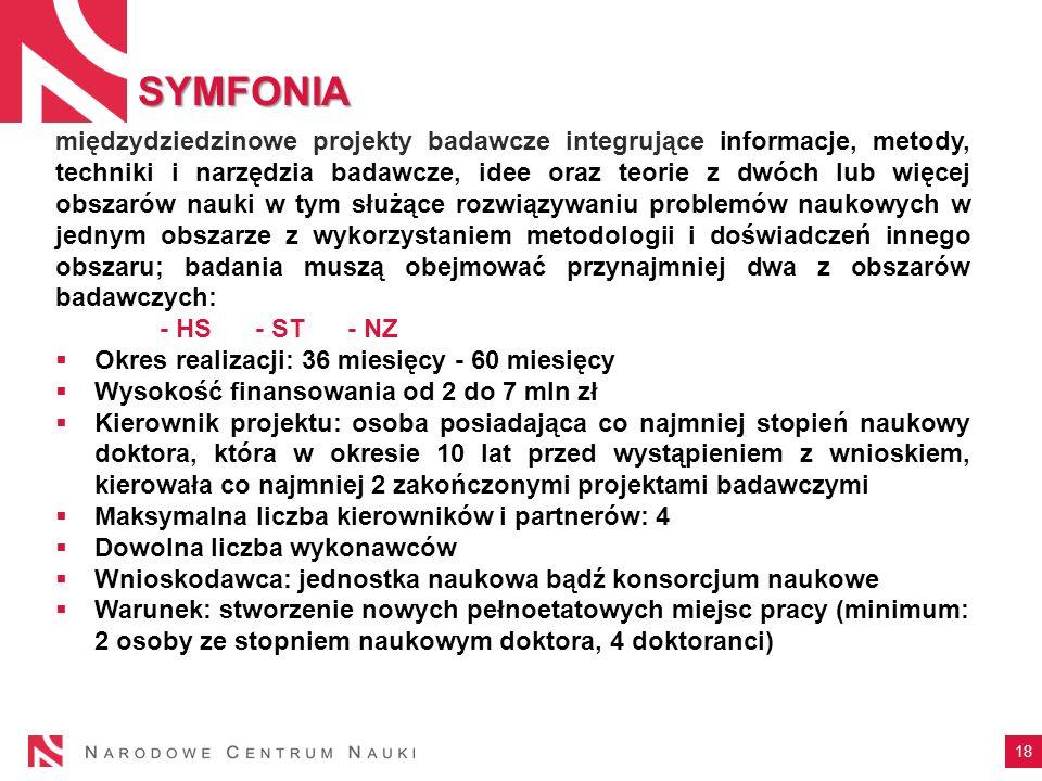SYMFONIA 18 międzydziedzinowe projekty badawcze integrujące informacje, metody, techniki i narzędzia badawcze, idee oraz teorie z dwóch lub więcej obs