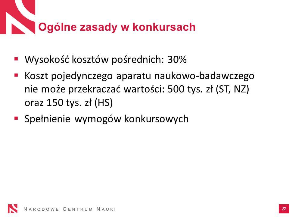Ogólne zasady w konkursach Wysokość kosztów pośrednich: 30% Koszt pojedynczego aparatu naukowo-badawczego nie może przekraczać wartości: 500 tys. zł (