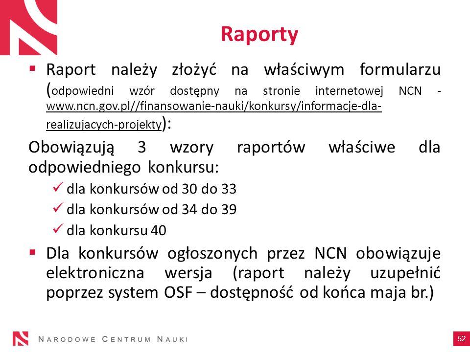 Raporty Raport należy złożyć na właściwym formularzu ( odpowiedni wzór dostępny na stronie internetowej NCN - www.ncn.gov.pl//finansowanie-nauki/konku