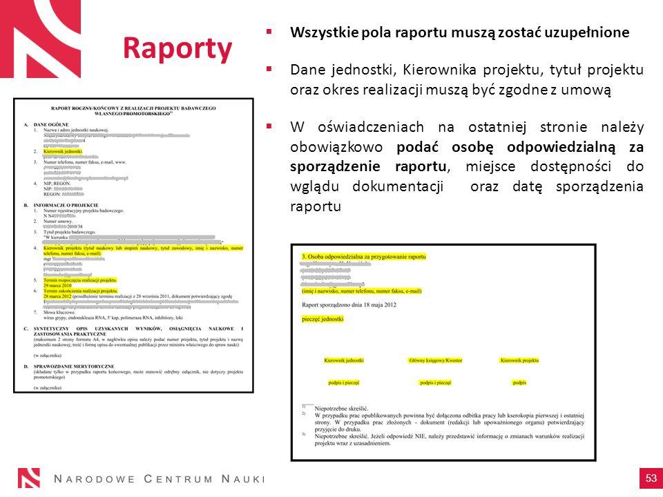 Wszystkie pola raportu muszą zostać uzupełnione Dane jednostki, Kierownika projektu, tytuł projektu oraz okres realizacji muszą być zgodne z umową W o