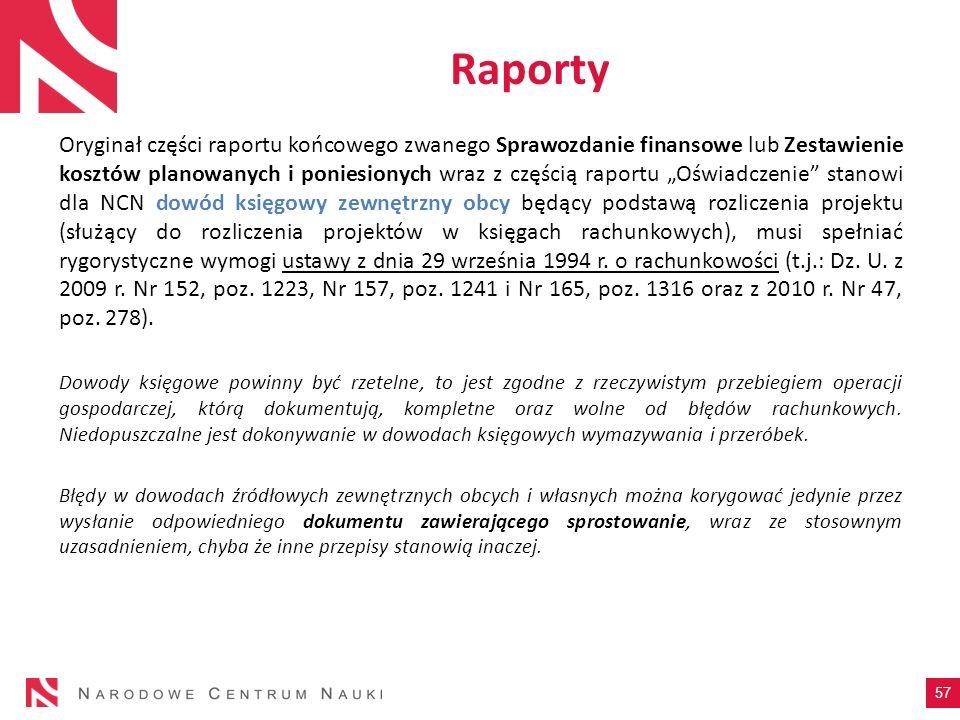 Oryginał części raportu końcowego zwanego Sprawozdanie finansowe lub Zestawienie kosztów planowanych i poniesionych wraz z częścią raportu Oświadczeni