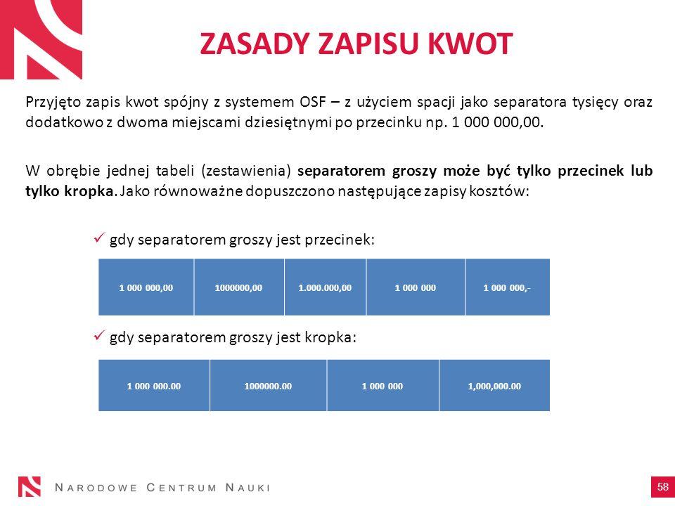 ZASADY ZAPISU KWOT Przyjęto zapis kwot spójny z systemem OSF – z użyciem spacji jako separatora tysięcy oraz dodatkowo z dwoma miejscami dziesiętnymi