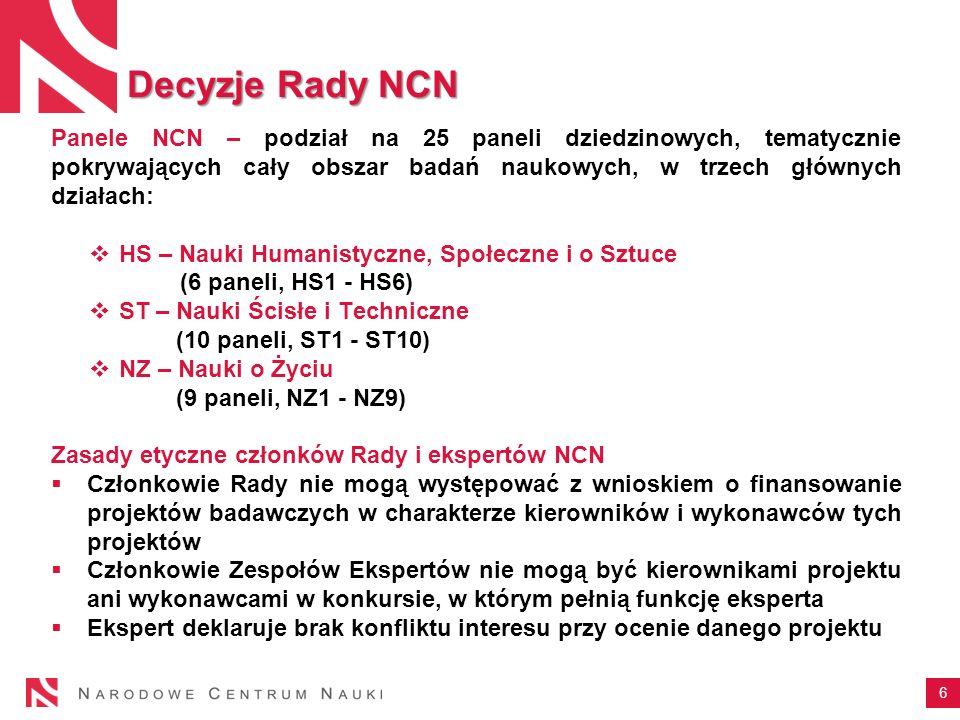 6 Panele NCN – podział na 25 paneli dziedzinowych, tematycznie pokrywających cały obszar badań naukowych, w trzech głównych działach: HS – Nauki Human