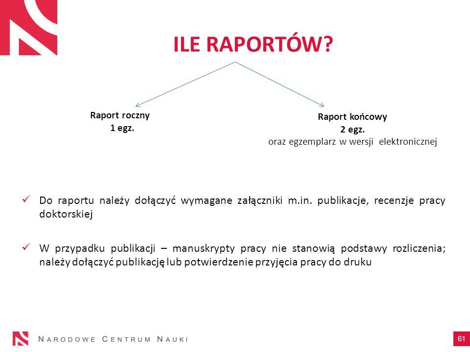 ILE RAPORTÓW? Do raportu należy dołączyć wymagane załączniki m.in. publikacje, recenzje pracy doktorskiej W przypadku publikacji – manuskrypty pracy n