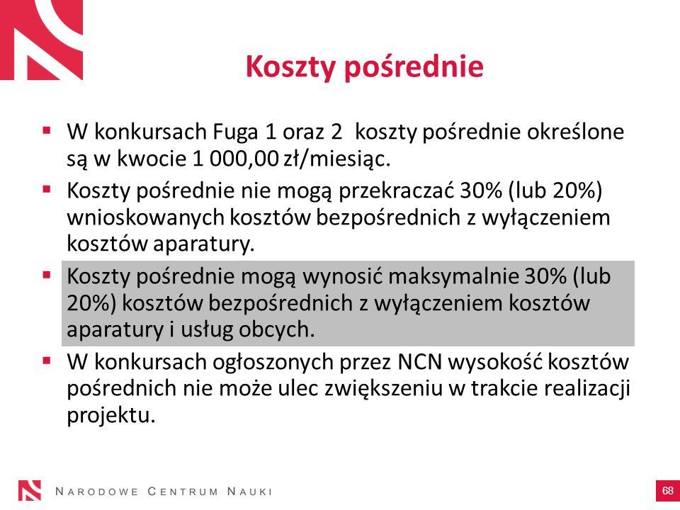 Koszty pośrednie 68 W konkursach Fuga 1 oraz 2 koszty pośrednie określone są w kwocie 1 000,00 zł/miesiąc. Koszty pośrednie nie mogą przekraczać 30% (