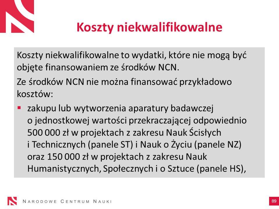 Koszty niekwalifikowalne Koszty niekwalifikowalne to wydatki, które nie mogą być objęte finansowaniem ze środków NCN. Ze środków NCN nie można finanso