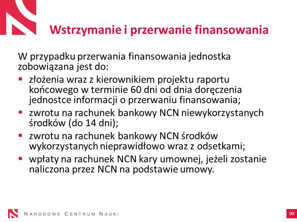 Wstrzymanie i przerwanie finansowania W przypadku przerwania finansowania jednostka zobowiązana jest do: złożenia wraz z kierownikiem projektu raportu