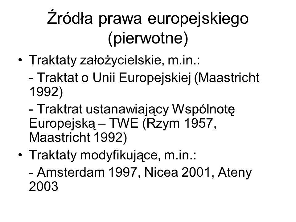 Źródła prawa europejskiego (pierwotne) Traktaty założycielskie, m.in.: - Traktat o Unii Europejskiej (Maastricht 1992) - Traktrat ustanawiający Wspóln