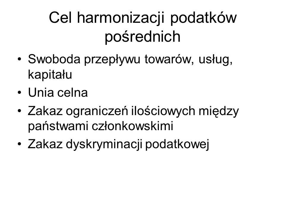 Cel harmonizacji podatków pośrednich Swoboda przepływu towarów, usług, kapitału Unia celna Zakaz ograniczeń ilościowych między państwami członkowskimi