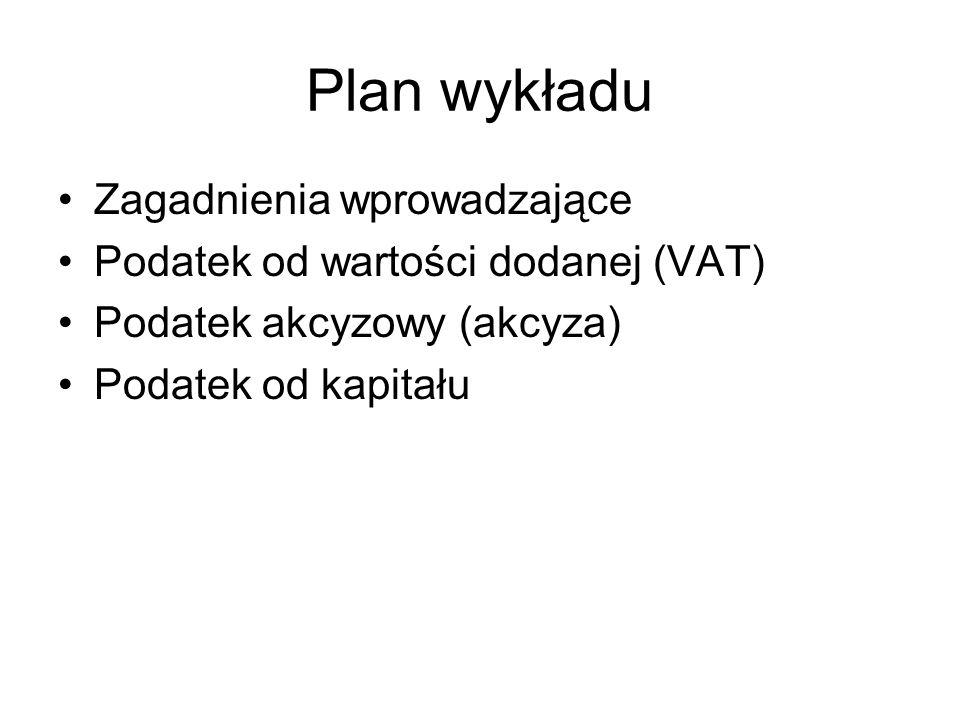 Plan wykładu Zagadnienia wprowadzające Podatek od wartości dodanej (VAT) Podatek akcyzowy (akcyza) Podatek od kapitału
