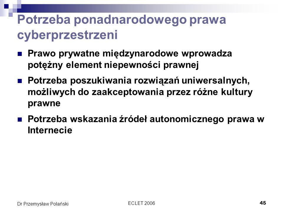 ECLET 200645 Dr Przemysław Polański Potrzeba ponadnarodowego prawa cyberprzestrzeni Prawo prywatne międzynarodowe wprowadza potężny element niepewnośc