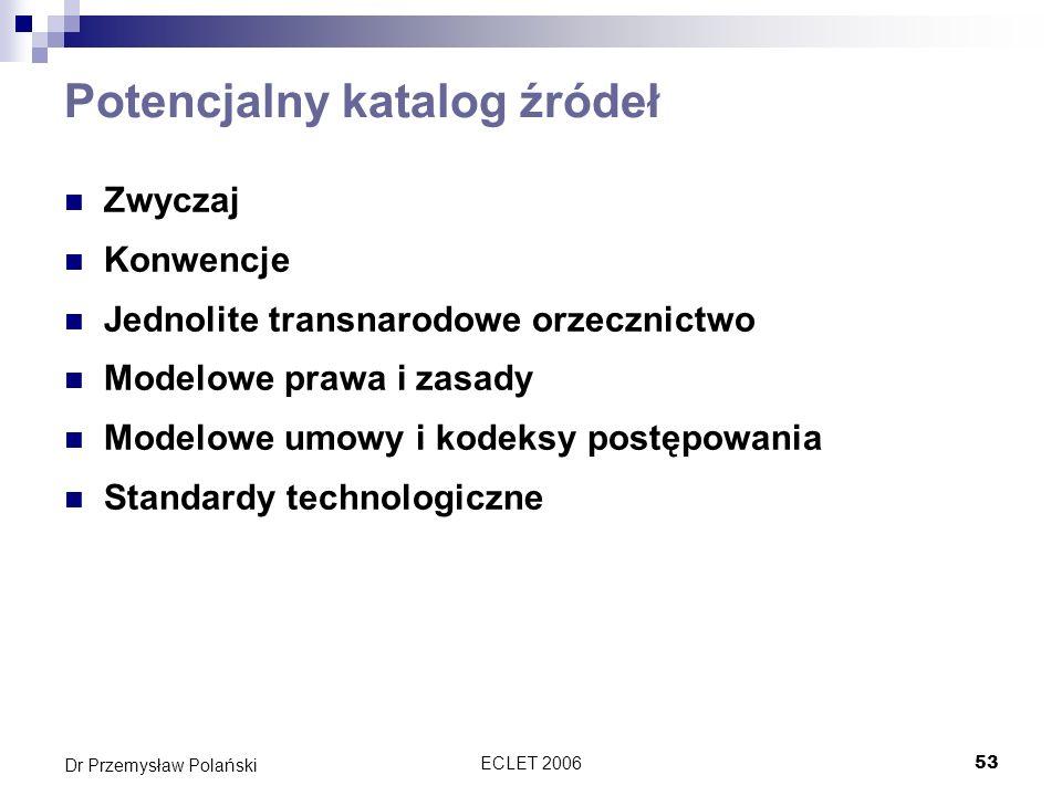 ECLET 200653 Dr Przemysław Polański Potencjalny katalog źródeł Zwyczaj Konwencje Jednolite transnarodowe orzecznictwo Modelowe prawa i zasady Modelowe