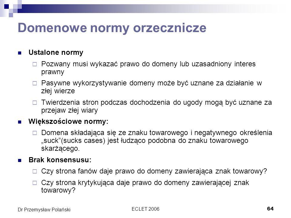 ECLET 200664 Dr Przemysław Polański Domenowe normy orzecznicze Ustalone normy Pozwany musi wykazać prawo do domeny lub uzasadniony interes prawny Pasy