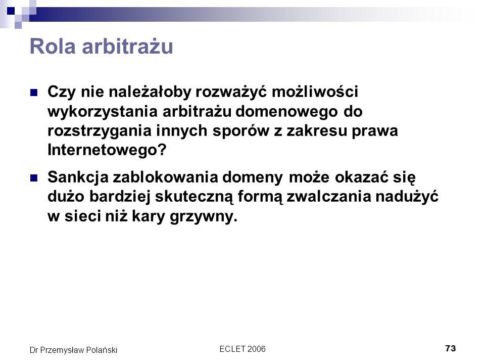 ECLET 200673 Dr Przemysław Polański Rola arbitrażu Czy nie należałoby rozważyć możliwości wykorzystania arbitrażu domenowego do rozstrzygania innych s