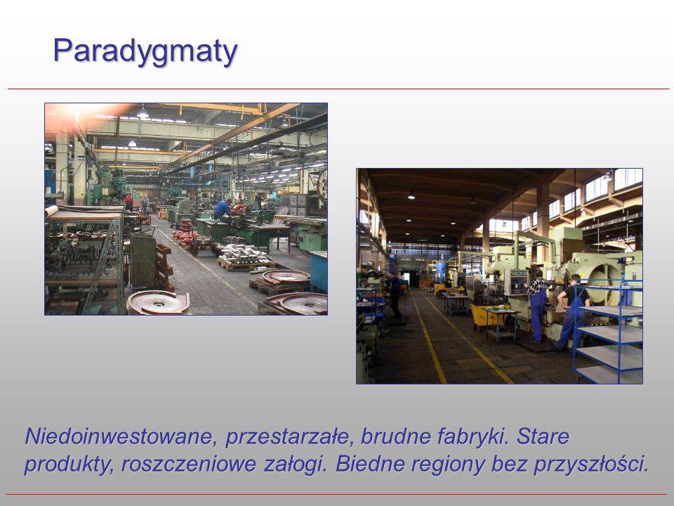 Paradygmaty Niedoinwestowane, przestarzałe, brudne fabryki. Stare produkty, roszczeniowe załogi. Biedne regiony bez przyszłości.