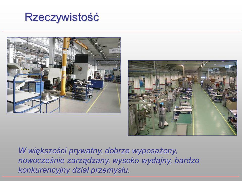 Rzeczywistość W większości prywatny, dobrze wyposażony, nowocześnie zarządzany, wysoko wydajny, bardzo konkurencyjny dział przemysłu.