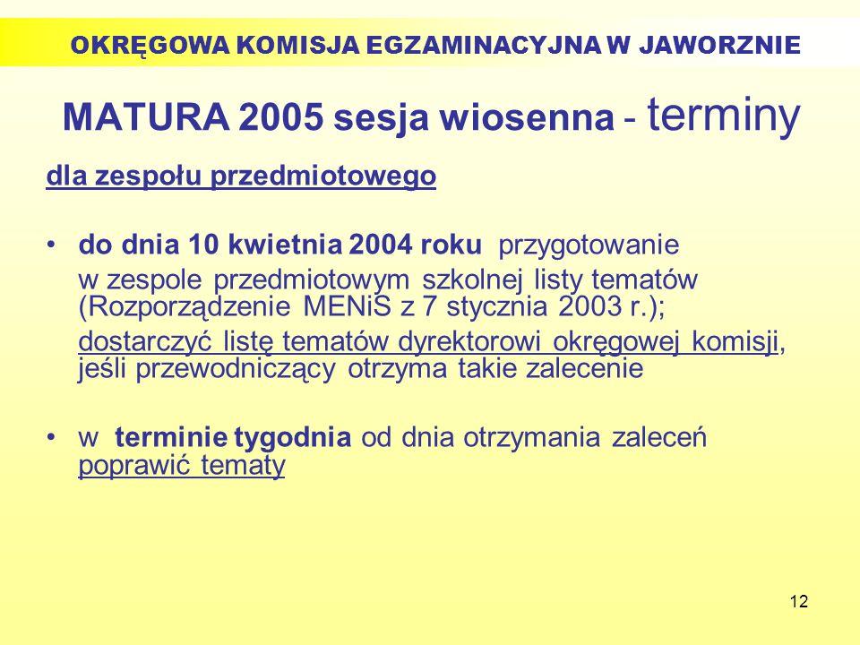 12 MATURA 2005 sesja wiosenna - terminy dla zespołu przedmiotowego do dnia 10 kwietnia 2004 roku przygotowanie w zespole przedmiotowym szkolnej listy