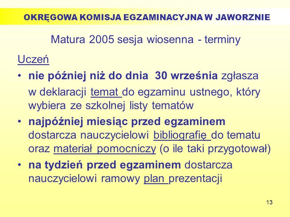 13 Matura 2005 sesja wiosenna - terminy Uczeń nie później niż do dnia 30 września zgłasza w deklaracji temat do egzaminu ustnego, który wybiera ze szk