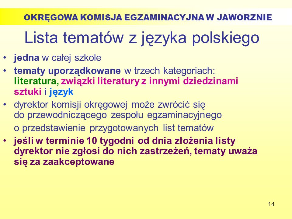 14 Lista tematów z języka polskiego jedna w całej szkole tematy uporządkowane w trzech kategoriach: literatura, związki literatury z innymi dziedzinam