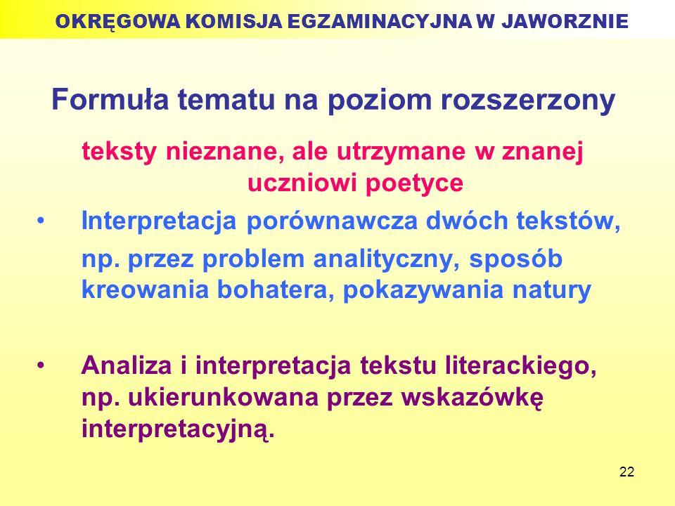 22 Formuła tematu na poziom rozszerzony teksty nieznane, ale utrzymane w znanej uczniowi poetyce Interpretacja porównawcza dwóch tekstów, np. przez pr