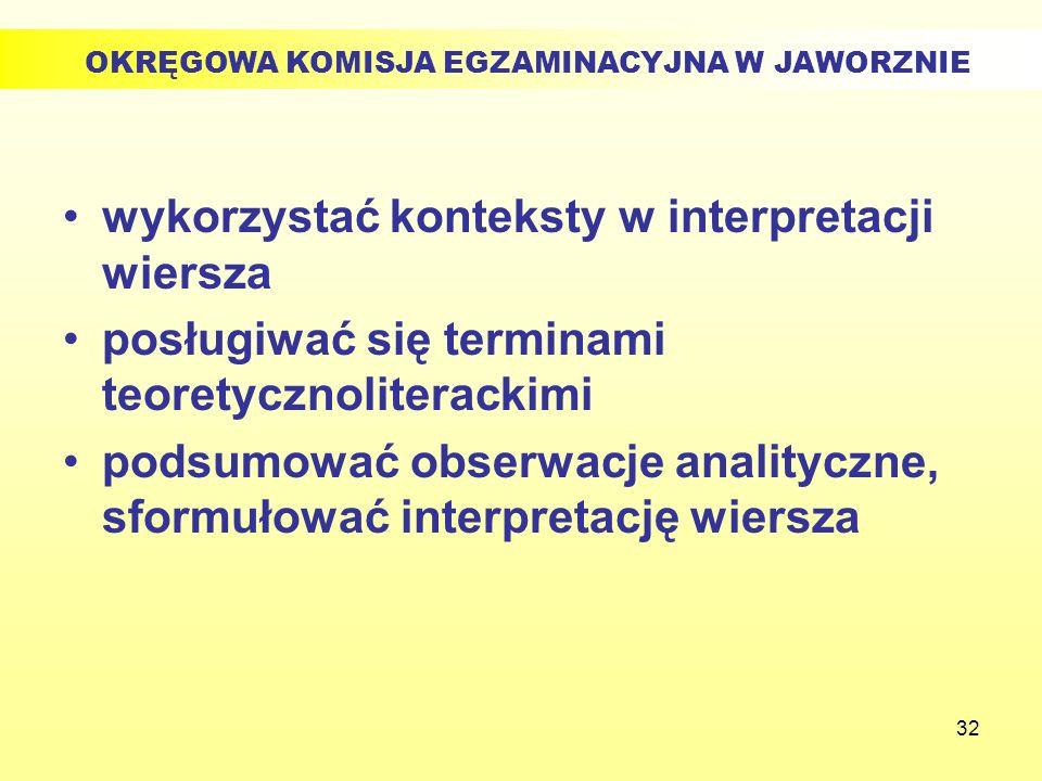 32 wykorzystać konteksty w interpretacji wiersza posługiwać się terminami teoretycznoliterackimi podsumować obserwacje analityczne, sformułować interp