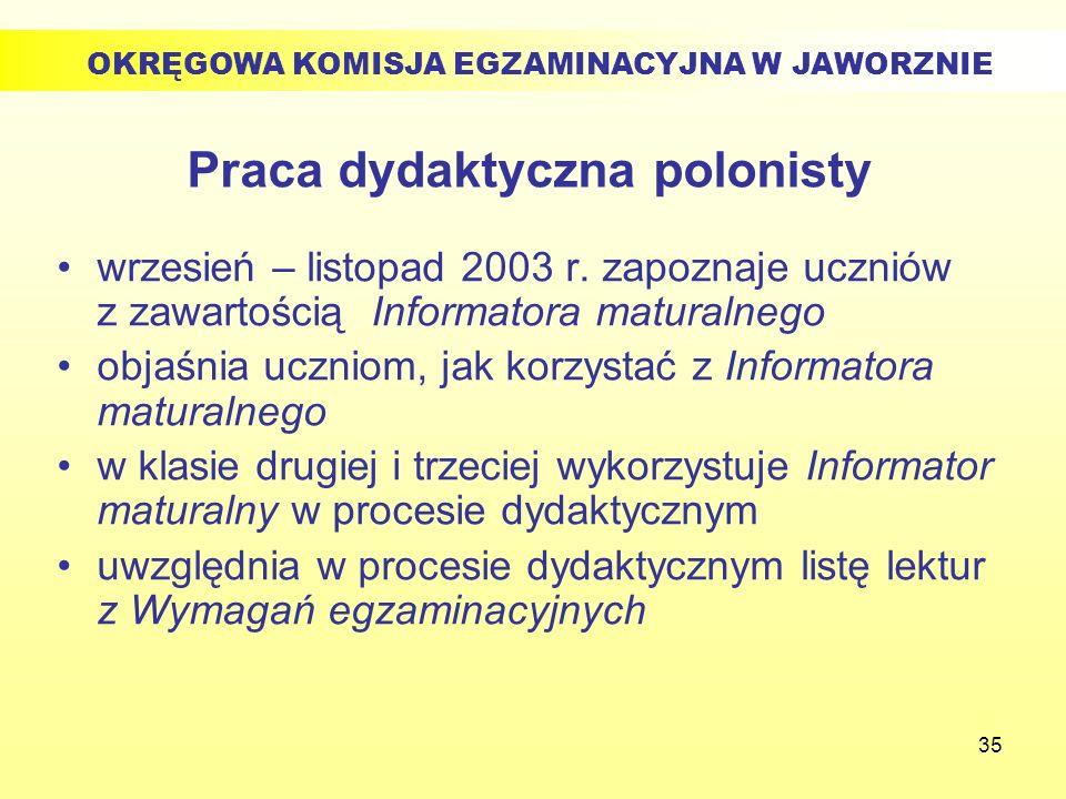 35 Praca dydaktyczna polonisty wrzesień – listopad 2003 r. zapoznaje uczniów z zawartością Informatora maturalnego objaśnia uczniom, jak korzystać z I