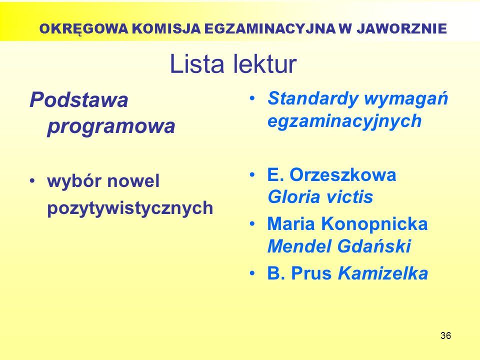 36 Lista lektur Podstawa programowa wybór nowel pozytywistycznych Standardy wymagań egzaminacyjnych E. Orzeszkowa Gloria victis Maria Konopnicka Mende