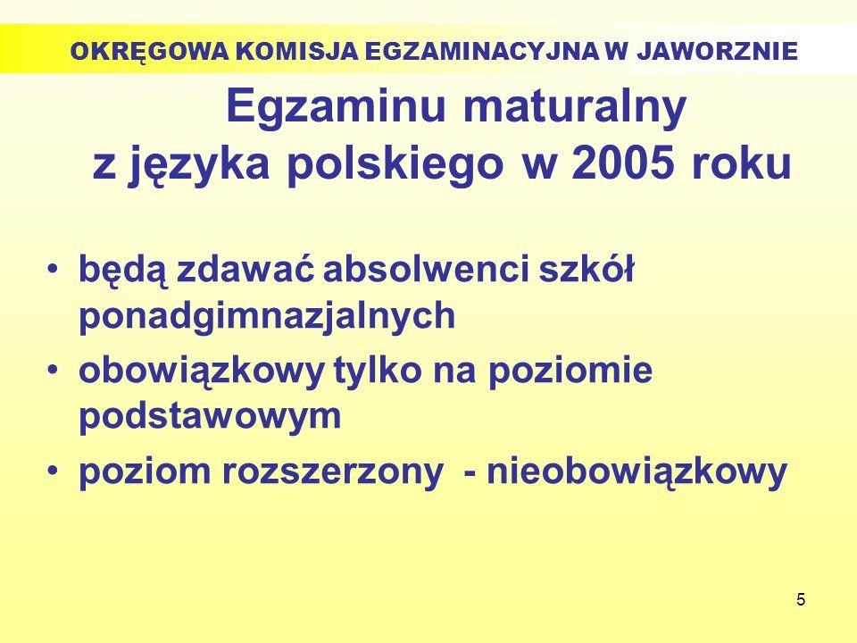 5 Egzaminu maturalny z języka polskiego w 2005 roku będą zdawać absolwenci szkół ponadgimnazjalnych obowiązkowy tylko na poziomie podstawowym poziom r