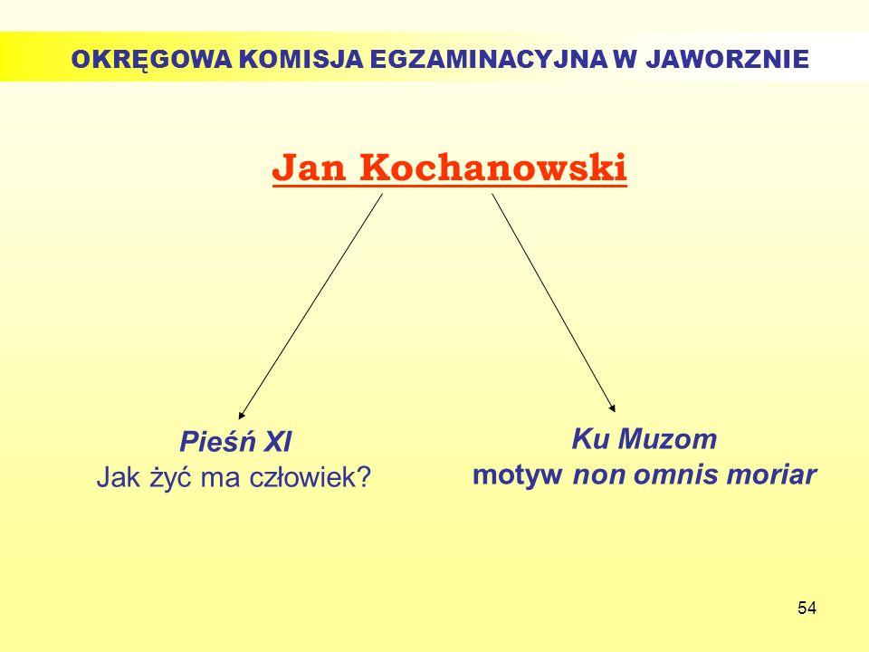 54 Jan Kochanowski Ku Muzom motyw non omnis moriar Pieśń XI Jak żyć ma człowiek? OKRĘGOWA KOMISJA EGZAMINACYJNA W JAWORZNIE
