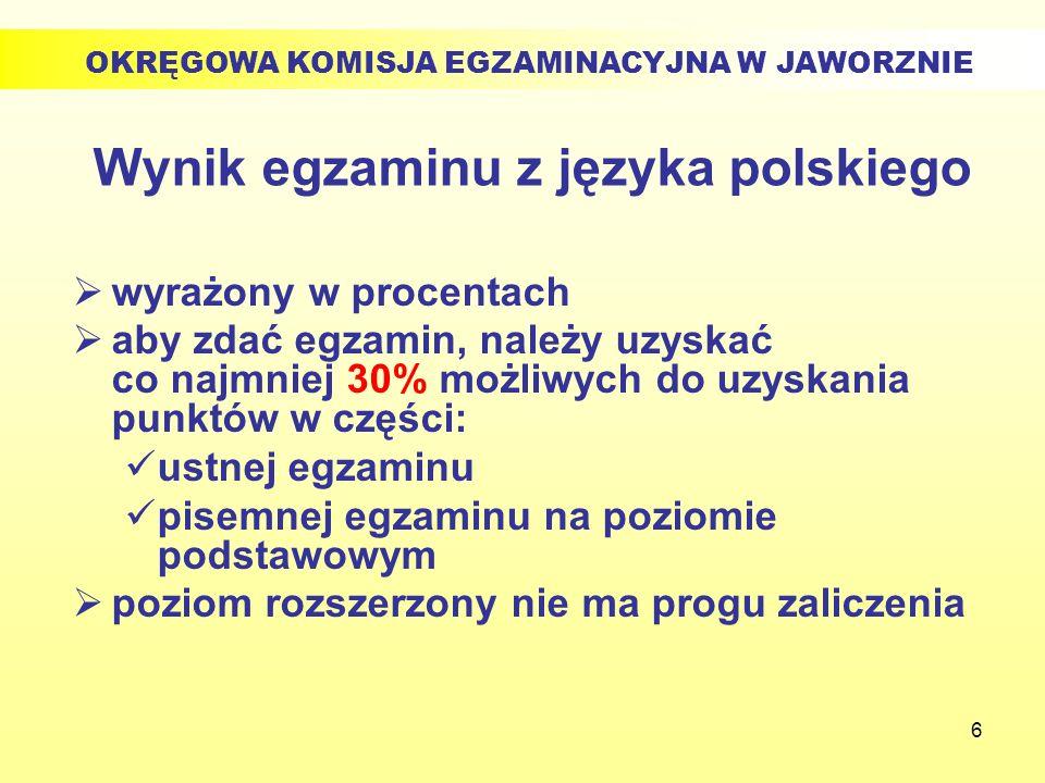 6 Wynik egzaminu z języka polskiego wyrażony w procentach aby zdać egzamin, należy uzyskać co najmniej 30% możliwych do uzyskania punktów w części: us