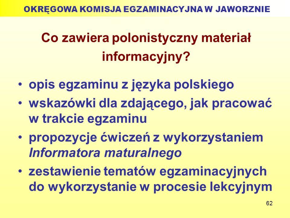 62 Co zawiera polonistyczny materiał informacyjny? opis egzaminu z języka polskiego wskazówki dla zdającego, jak pracować w trakcie egzaminu propozycj
