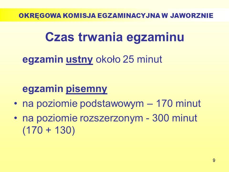 9 Czas trwania egzaminu egzamin ustny około 25 minut egzamin pisemny na poziomie podstawowym – 170 minut na poziomie rozszerzonym - 300 minut (170 + 1