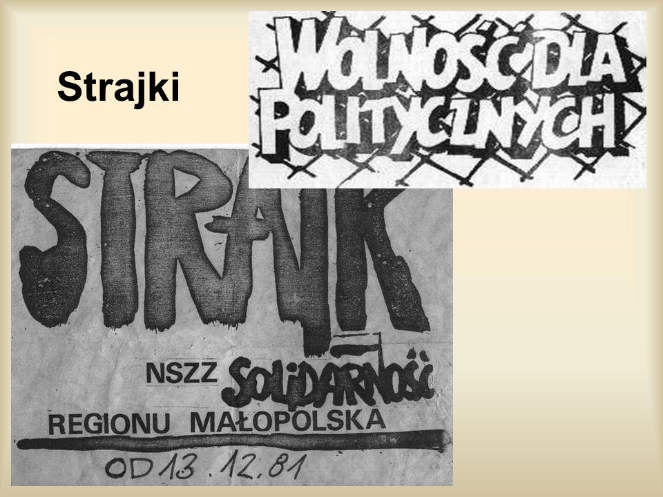 O strajkach i demonstracjach Pozostali na wolności działacze Solidarności w kwietniu 1982 utworzyli Tymczasową Komisję Koordynacyjną (Z. Bujak, F. Fra