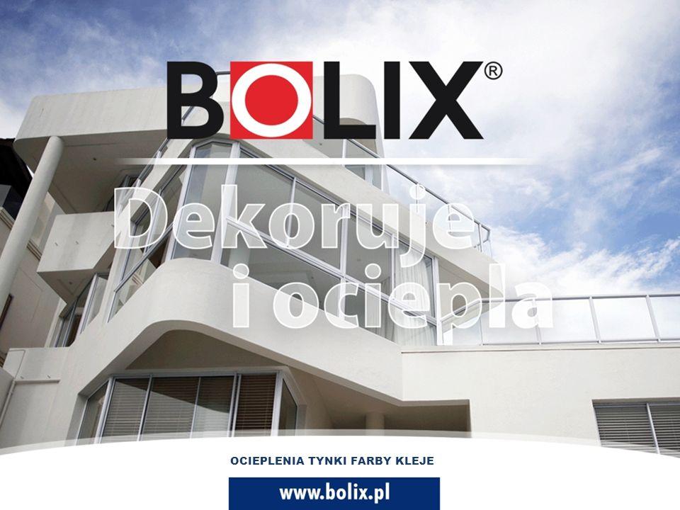 OCIEPLENIA FARBY TYNKI KLEJE www.bolix.pl OCIEPLENIE FARBY TYNKI KLEJE 2.2011 Oferta produktowa BOLIX Firma Bolix to wiodący producent chemii budowlanej specjalizujący się w produkcji systemów elewacyjnych.