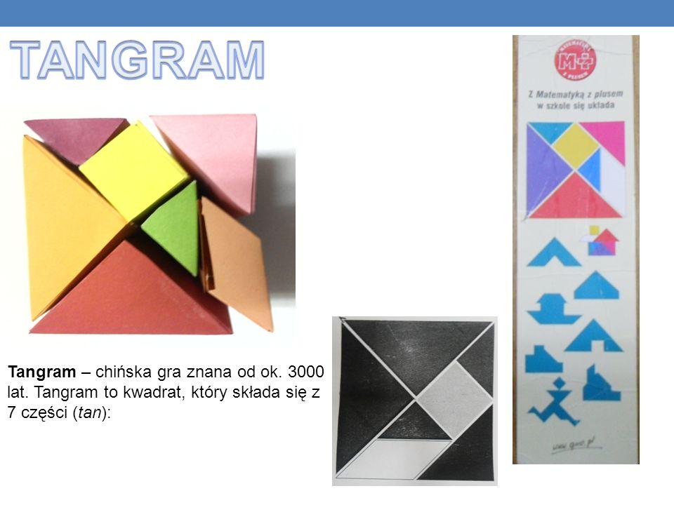 Tangram – chińska gra znana od ok. 3000 lat. Tangram to kwadrat, który składa się z 7 części (tan):