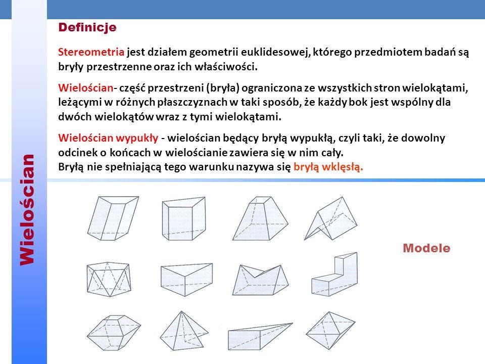 Definicje Stereometria jest działem geometrii euklidesowej, którego przedmiotem badań są bryły przestrzenne oraz ich właściwości.