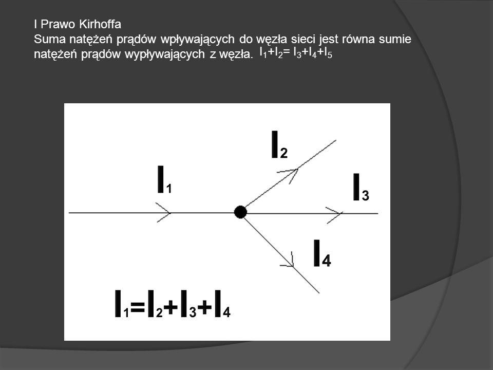 I Prawo Kirhoffa Suma natężeń prądów wpływających do węzła sieci jest równa sumie natężeń prądów wypływających z węzła.