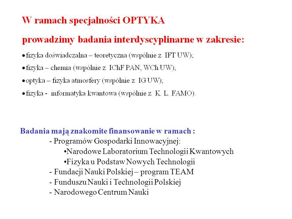 Badania mają znakomite finansowanie w ramach : - Programów Gospodarki Innowacyjnej: Narodowe Laboratorium Technologii Kwantowych Fizyka u Podstaw Nowych Technologii - Fundacji Nauki Polskiej – program TEAM - Funduszu Nauki i Technologii Polskiej - Narodowego Centrum Nauki