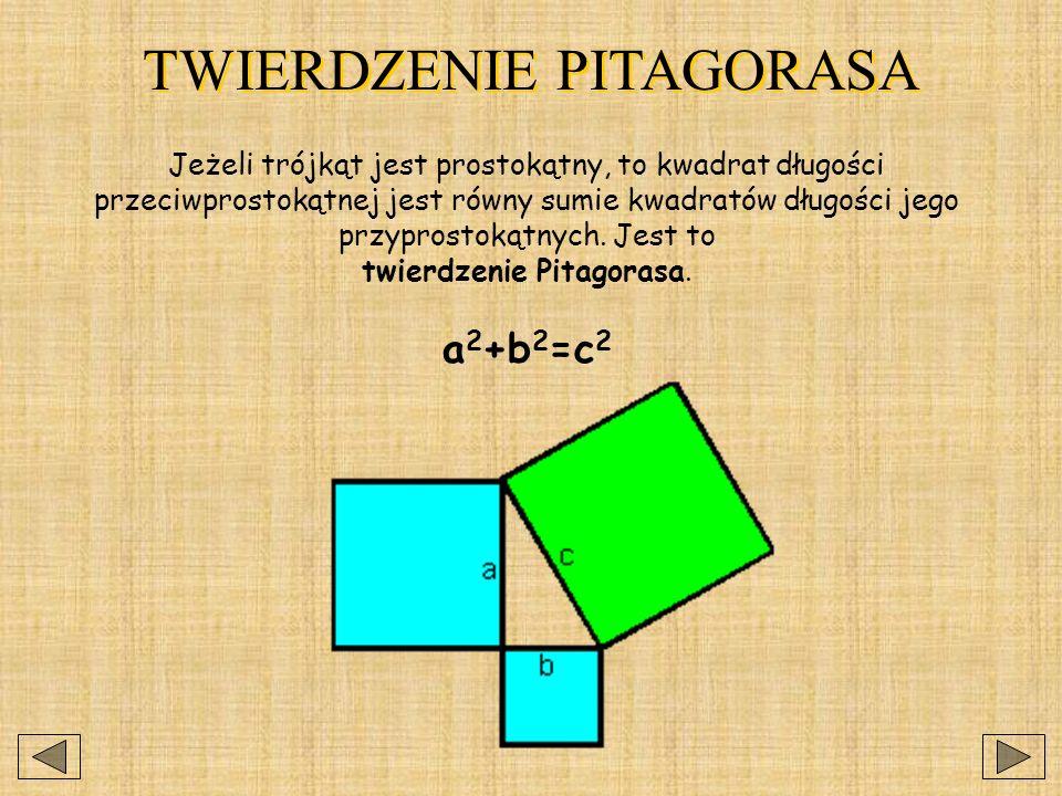 TWIERDZENIE PITAGORASA Jeżeli trójkąt jest prostokątny, to kwadrat długości przeciwprostokątnej jest równy sumie kwadratów długości jego przyprostokątnych.