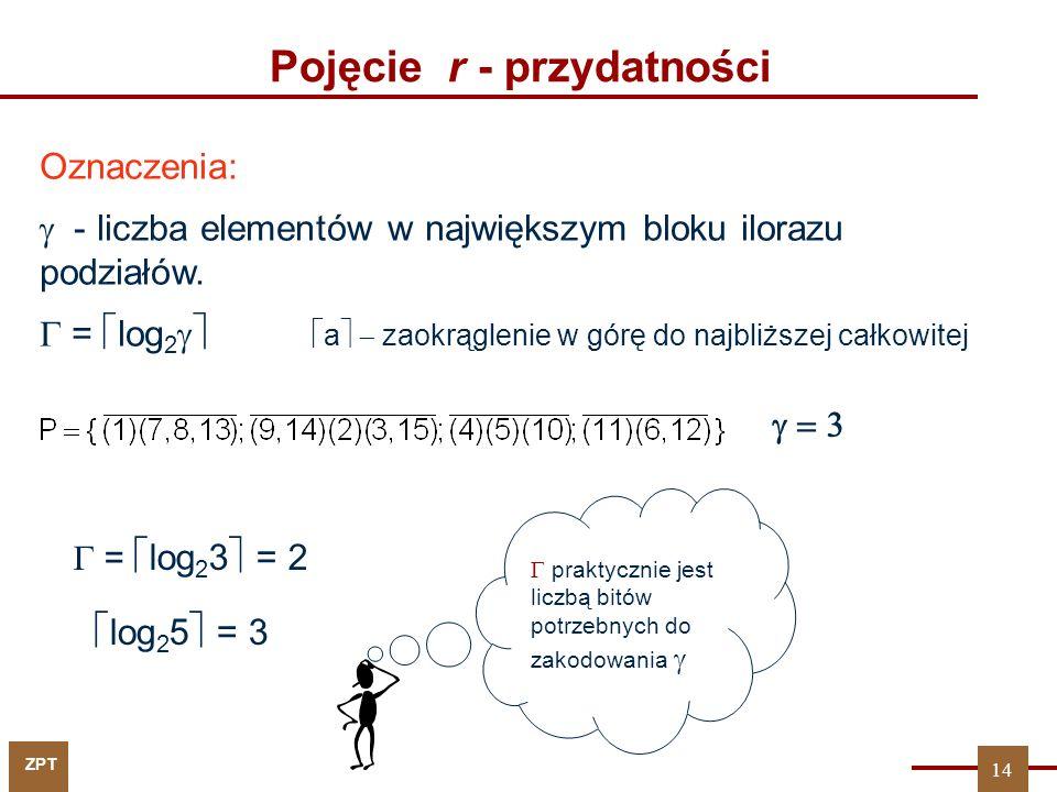 ZPT Pojęcie r - przydatności… Zbiór podziałów {P 1,...,P k } jest r-przydatny względem P, gdzie: r = k + (P 1...P k   P P 1...P k ) 15 W dekompozycji przyjmujemy P = P F