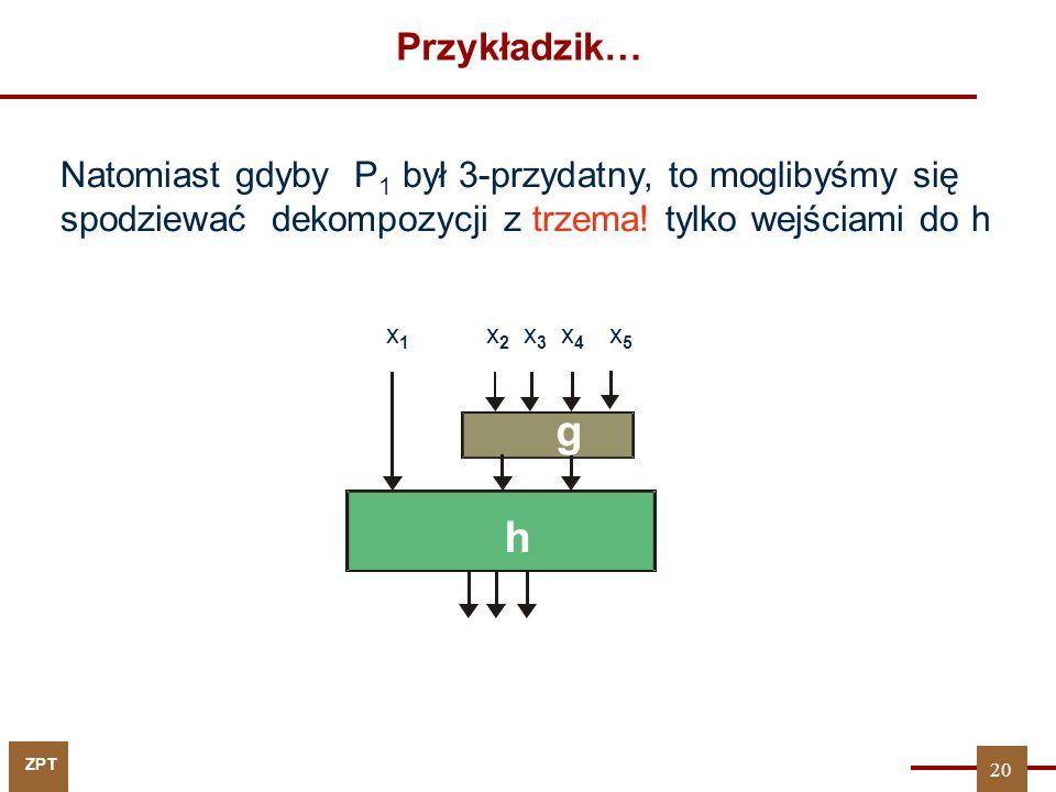 ZPT Twierdzenia o r - przydatności Jeśli {P 1,...,P k } jest r-przydatny (k < r) względem P, to istnieje zbiór podziałów {P k+1,...,P r }, dla których: P 1...P k P k+1,...,P r P natomiast nie istnieje {P k+1,...,P r-1 } taki, że: P 1...P k P k+1,...,P r-1 P Inaczej mówiąc, warunkiem koniecznym i wystarczającym na to, aby: P 1...P k P k+1,...,P m P jest m-przydatność zbioru {P 1,...,P k } względem P.